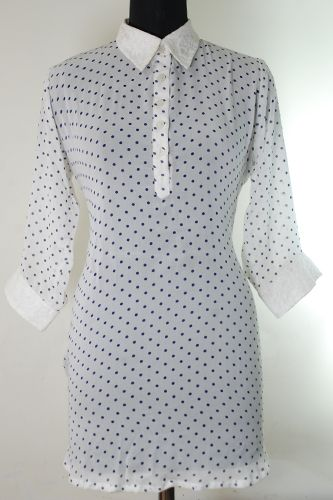 Want to make a style statement ? Go for this Dot Print Georgette Top with net lace yoke at the back.