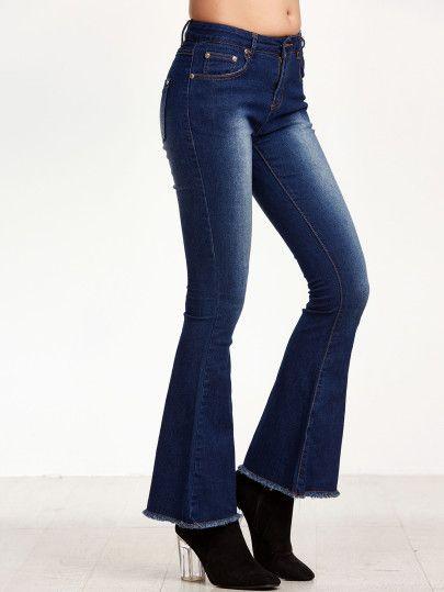 Jeans ourlet bruts eau de Javel -bleu foncé