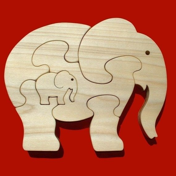 Elephant With Calf  Childrens Wood Puzzle Game  by GrampsWoodShop, $14.95