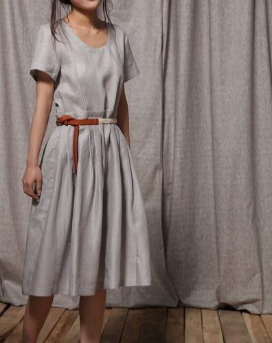 Light Grey Elegant Ramie Short Sleeve Dress