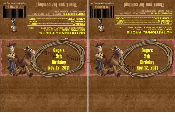 Woody and Bullseye Candy Bar Wrappers-Digital file-Check out the matching Birthday Invitations