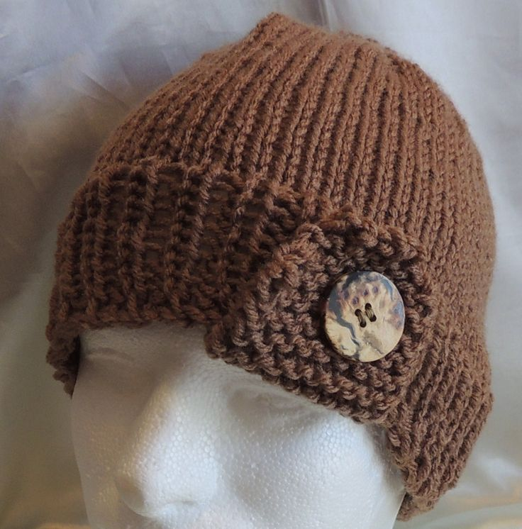 Messy Bun/Ponytail Hat Cocoa Tan With Button Tab Knit Unisex Adult Size by AuldNouveau on Etsy