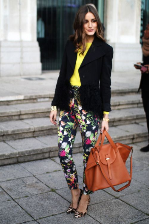 Not easy pulling off yellow, floral, and leopard at once. well-done Olivia