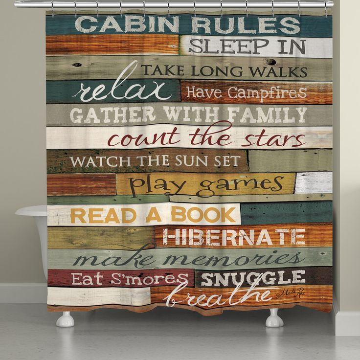 Cabin Rules Shower Curtain, Cabin Rules by Marla Rae