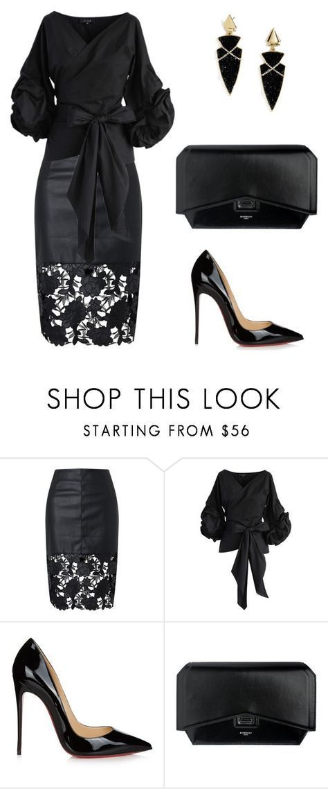 """050. Correcting wide hips in Dramatic style"" by sollis ❤ liked on Polyvore featuring Chicwish, Christian Louboutin, Givenchy, BaubleBar, black, dramatic, partystyle and widehips"