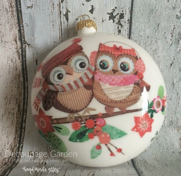 Christmas Cute Owls Decoration, Christmas Owl, Christmas Ornament with Owls by DecorativeGarden on Etsy