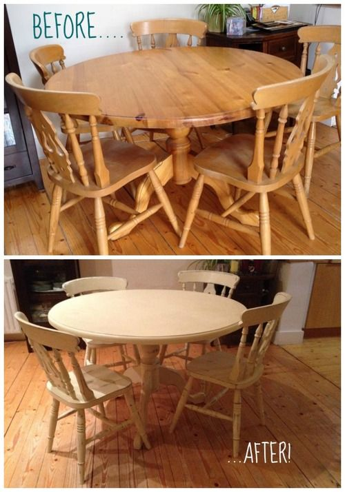 Table #Makeover using #ChalkPaint ... French Linen underneath, Cream on top and then clear & dark wax for that aged look. Looks like a new table and chairs! Can't wait to see what she does next!!!...