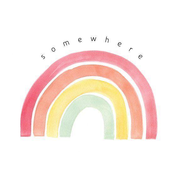 Somewhere Over The Rainbow | Somewhere Over The Rainbow Print | Rainbow Nursery Art u2728Welcome to HeyMarnie! A collection of elegant & whimsical de...