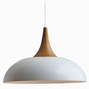 Product Code: Denmark-Pendant Light  Description: Made from steel and Timber look in a natural colour.Comes with adjustable 1.5 meters of cable.  Colours: White & Black other colours are available on request.  Bulb: 1 x E27 deco globe  Dimensions: Diameter  50m0m x 350 mm (H) Plus 1.5 meter cord suspension(longer length suspension  available).