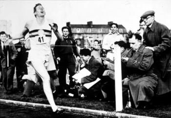 In 1954, Roger Bannister, a 25 year old med student, runs a mile in less sthan four minutes....wowZa!