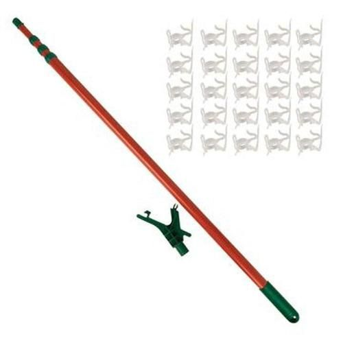 11' Telescoping Christmas Tree Decorating Pole for Hanging Lights - Includes 25 Gutter Clips