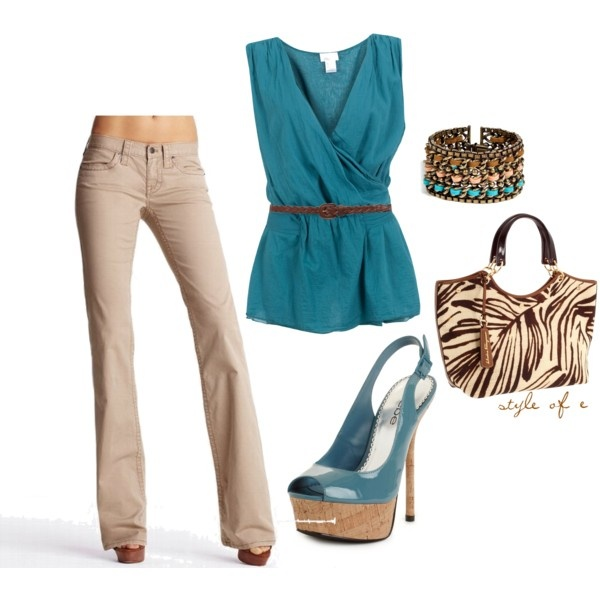 Animal Print Tote, created by styleofe on Polyvore: Colors Combos, Style, Clothing, Prints Totes, Teal, Animal Prints, Currently, Work Outfit, Bags