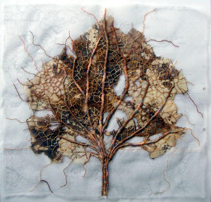 leaf 3. silk organza, print, stitch.  by Ailie Snow