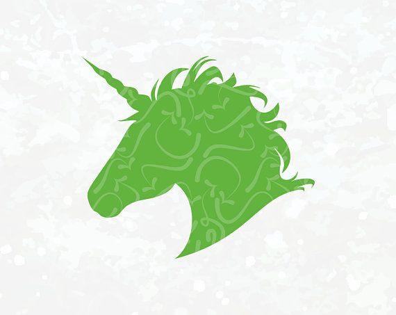 Unicorn SVG - Unicorn Silhouette Cricut File - Green Unicorn Decal