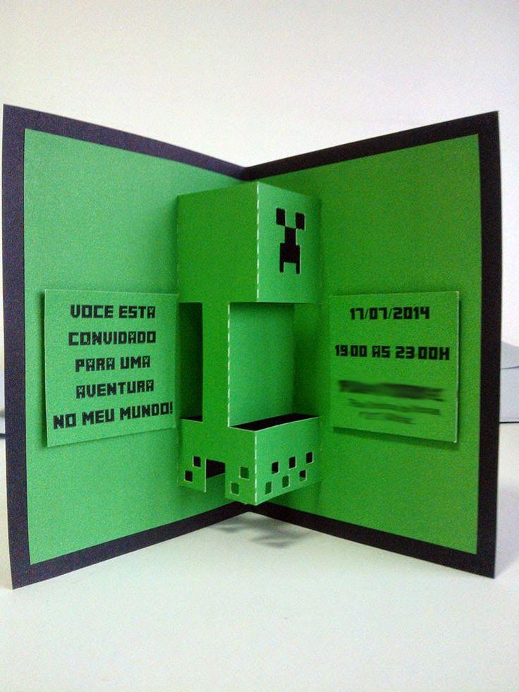 MZ Convites e Papelaria: Convite Minecraft