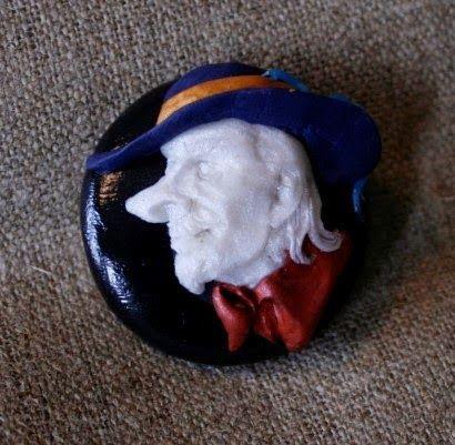 Polymer clay Cyrano broach, made by Miia Irene. http://www.pinterest.com/miiairene/
