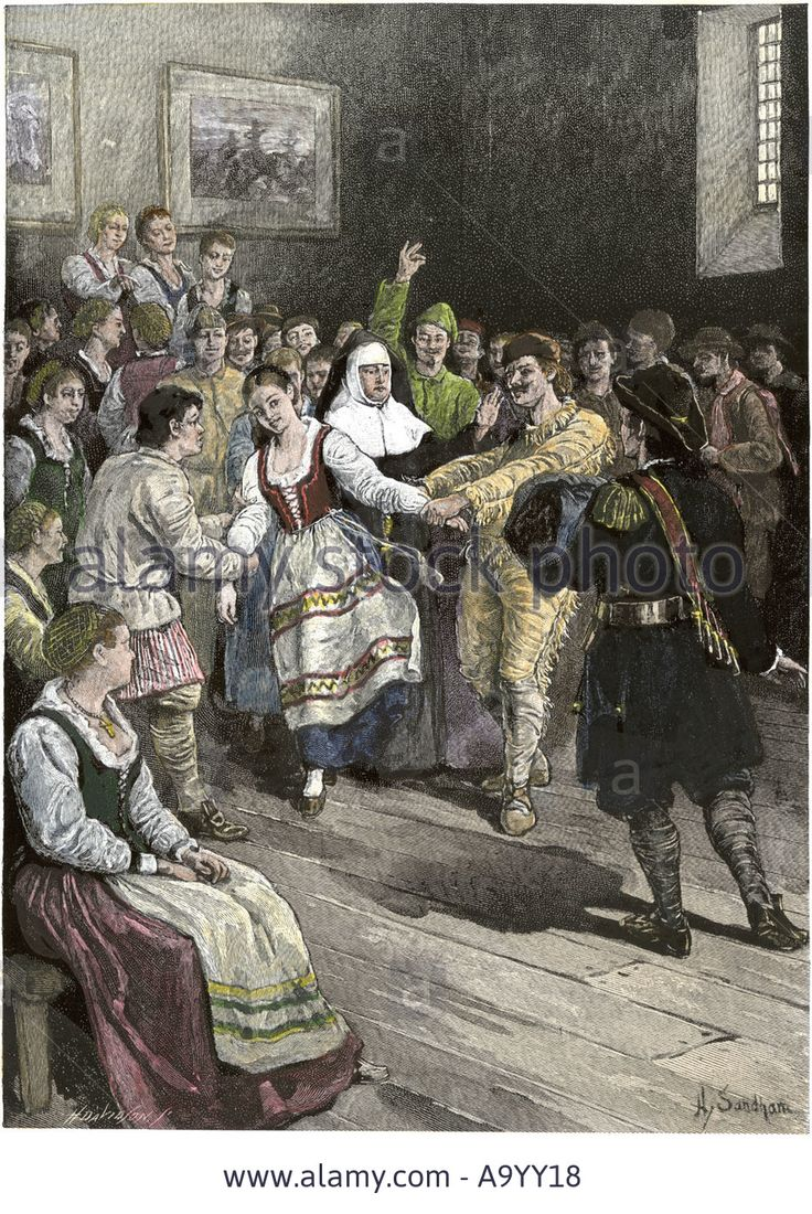 French Canadians Enjoying A Dance In Early Quebec Stock Photo ...