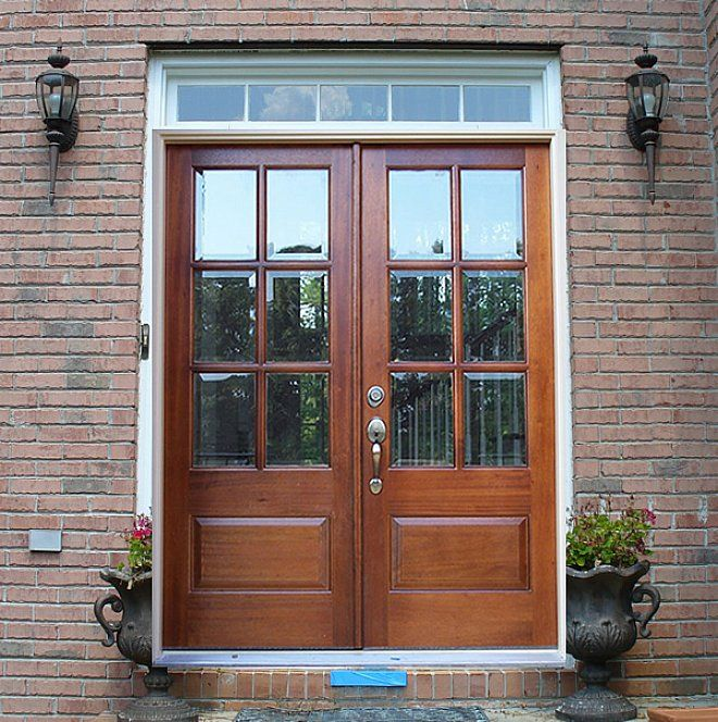 Double front doors with glass of double entry doors for Exterior front entry wood doors with glass