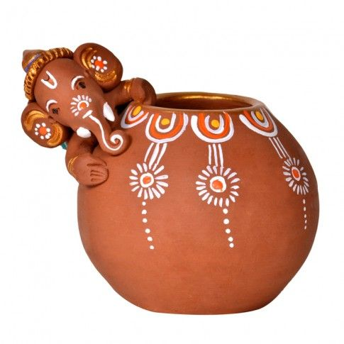 Terracotta Handpainted Baby Ganesha Rolling On The Matki - Decoratives - Decor