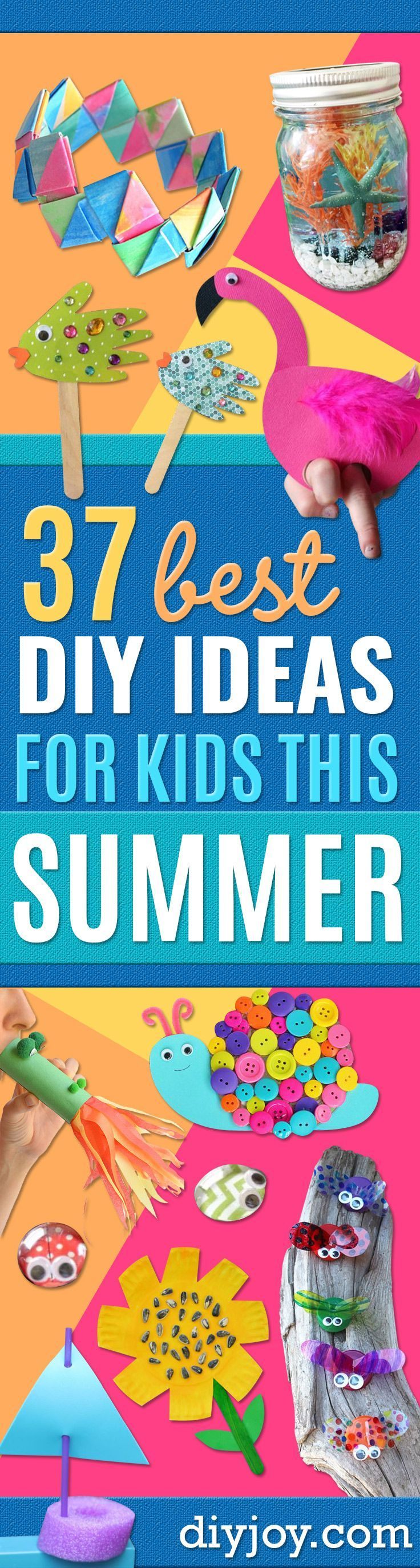 DIY Ideas for Kids To Make This Summer - Fun Crafts and Cool Projects for Boys and Girls To Make at Home - Easy and Cheap Do It Yourself Project Ideas With Paint, Glue, Paper, Glitter, Chalk and Things You Can Find Around The House - Creative Arts and Crafts Ideas for Children http://diyjoy.com/diy-ideas-kids-summer #artsandcraftsforkidstodoathome