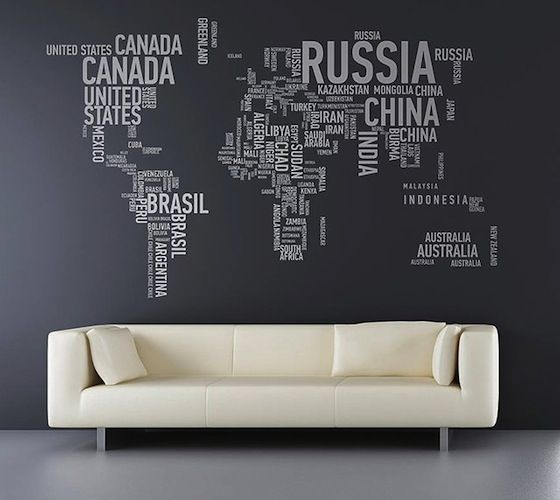A Different World Wall Stickers / A Different World Wall Stickers consists of individually cut vinyl letters spelling out each country, boasting an incredible attention to detail. http://thegadgetflow.com/portfolio/a-different-world-wall-stickers-205/