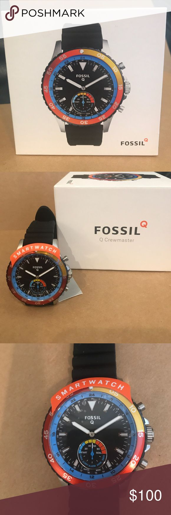 BRAND NEW Fossil Hybrid Smartwatch! Q Crewmaster Black Silicone.  Uses Bluetooth technology to receive smartphone notifications. Track steps, calories and sleep. Bottom button takes photos, controls music or find your phone. Battery life up to 6 months. Fastened in an accordion black silicone strap.  Interchangeable strap. Compatible with android and iPhone. Brand new with tag and box. Never used. Fossil Accessories Watches