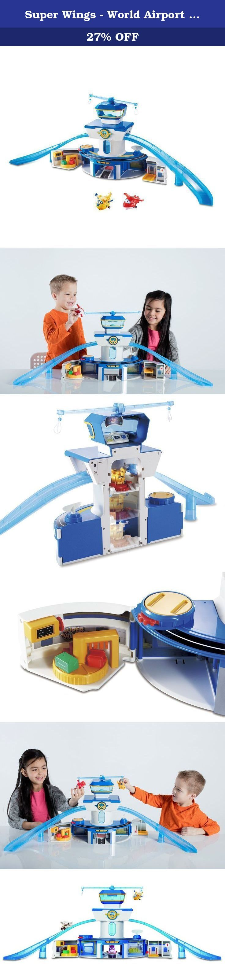 Super Wings - World Airport Playset. It's fly time! The iconic world airport from the popular Super Wings TV show sets the stage for this ultimate playset for preschool boys and girls. Its large 35-inch scale delivers loads of fun, with electronic sounds and lights plus tons of activities for kids to recreate their favorite Super Wings scenes and missions. This playset includes mini-transforming characters Jett and Donnie that can attach to the fly-bar and spin to circle the world airport...