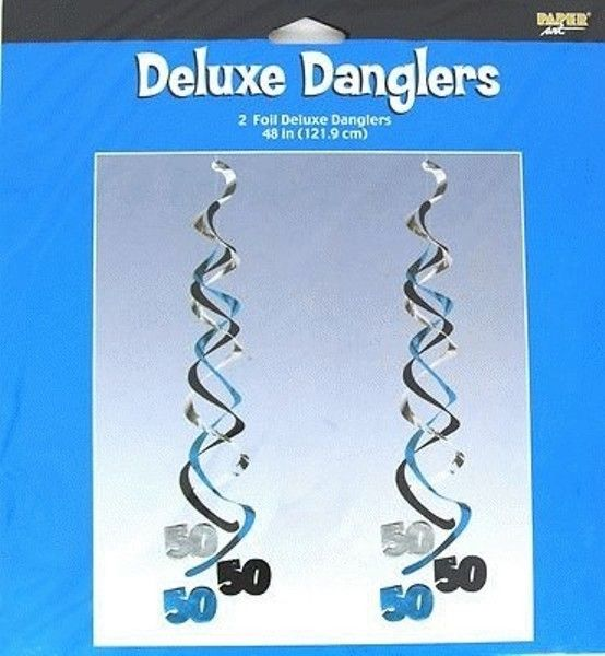 50th Birthday Deluxe Danglers 50 Party Foils - 2 Pack - 121.9cm