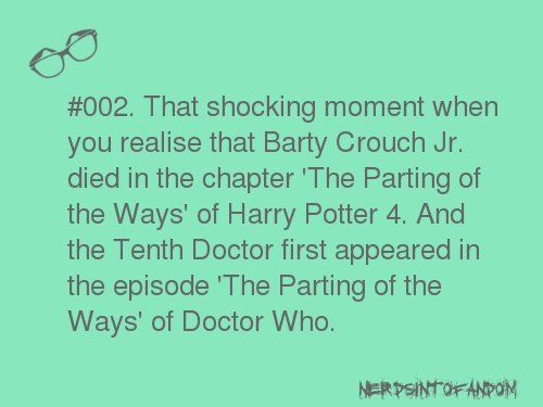 What's sad is I already knew this. There are sooo many Harry Potter references I think partly as a joke since David Tennant was both the Doctor and Barty Crouch Jr and partly because the writers and fans of the show are all a bunch of geeks :) lol