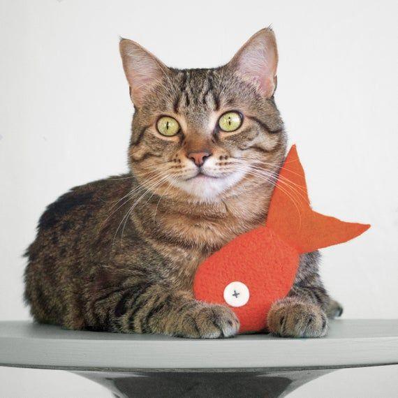 Catnip Toy Cat Toy Catnip Fish Orange Mini Goldfish Orange Cat Toy Valerian Option Organic Catnip Wool Felt Toy Felt Cat Toy Catnip Toys Cat Toys Felt Cat