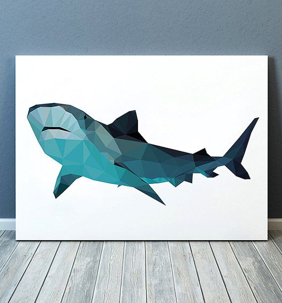 Shark decor Sealife poster Fish print Nautical print TOA195