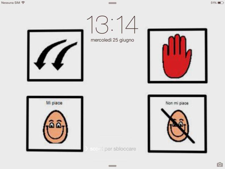 Grazie ad un semplice trucchetto è possibile avere accesso ai propri simboli di CAA anche dal blocco schermo. È sufficiente infatti fare uno screen shot della schermata della app contenente i simboli più utilizzati o maggiormente utili e impostarlo come immagine di sfondo per il blocco schermo. In questo modo, appena si attiverà l'iPad ma ancora prima di scorrere con il dito per accedere alle proprie app, sarà possibile avere accesso ai propri simboli.