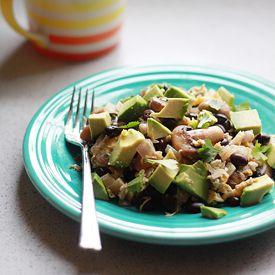 I-Burn: 10-minute Black Bean, Mushroom, & Avocado Scramble makes a hearty, protein-packed vegetarian lunch for 2.