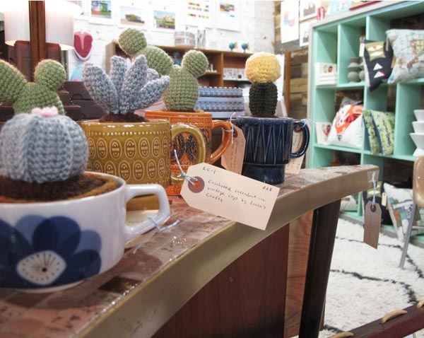 """I """"plant"""" crocheted succulents in vintage mugs"""
