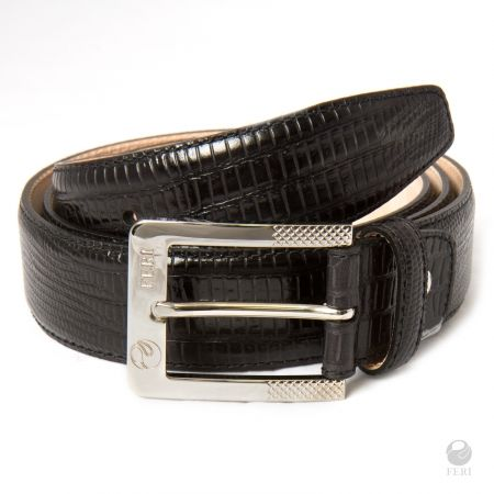 FERI - Selvaggio Belt - Black Print - Men's hip belt  - Made from genuine cow leather  - Hand made and hand dyed   - Imprinted with snake skin pattern  - Buckle is embossed with FERI logos    Please refer to size chart to determine your size. www.gwtcorp.com/ghem or email fashionforghem.com for big discount
