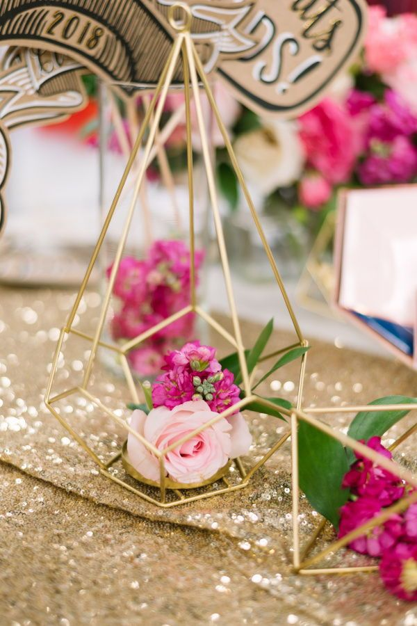 2e22fd1c441 Tall Gold Geometric Candle or Flower Centerpiece in 2019