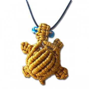 "Sea turtle jewelry-""Turtle in Knots"" Necklace  19.00€–22.00€  Handmade macrame sea turtle, gold or brown. Adjustable length. Signed Anna Maria Mazaraki.  Brown turtle has two blue glass bead eyes.  Gold (3 cm)  Brown (4,2 cm)"