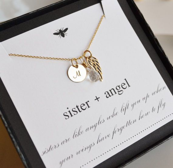 Personalized Monogrammed Sister Angel Wing Necklace by LeBijouxBee