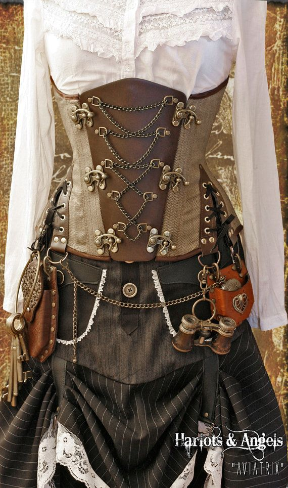 Steampunk Pirate  All sizes Brown Linen chain Explorer under bust Corset. FAST SHIPPING