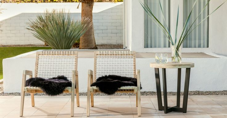 "Great outdoor chairs and side table. A little ""southwestern"" flare to go with blue/grey succulents and landscaping"