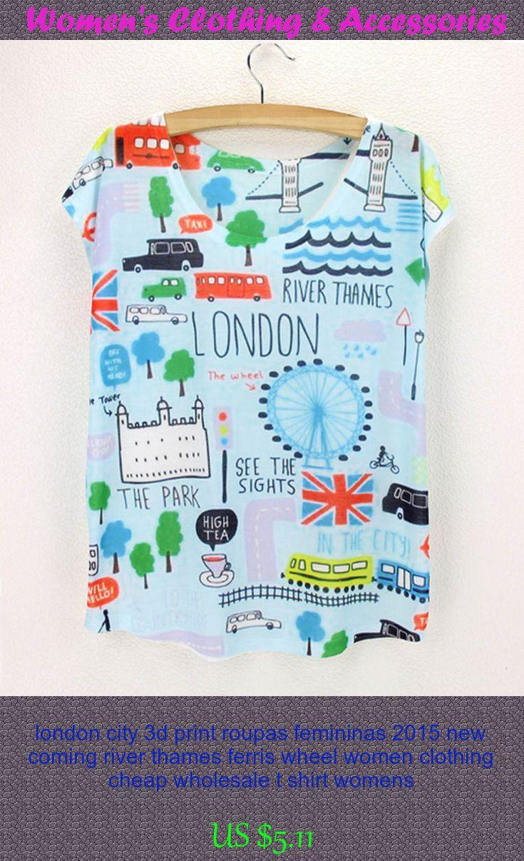 Design your own t shirt cheap uk - London City 3d Print Roupas Femininas 2015 New Coming River Thames Ferris Wheel Women Clothing Cheap