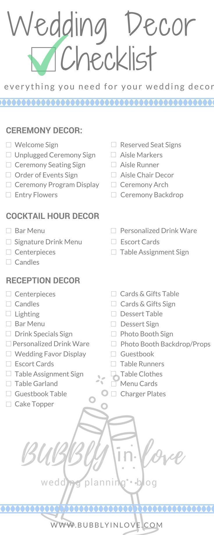 Wedding Reception Checklist Wedding Decorations Wedding Checklist Wedding Decor Wedding Decoration Checklist Wedding Reception Checklist Cocktail Hour Decor