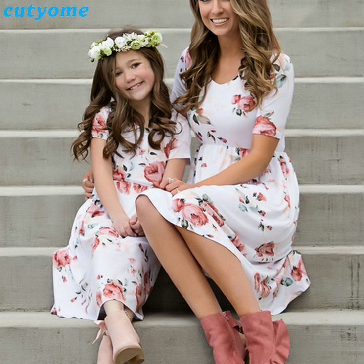 Buy matching family look dress outfits mother and daughter