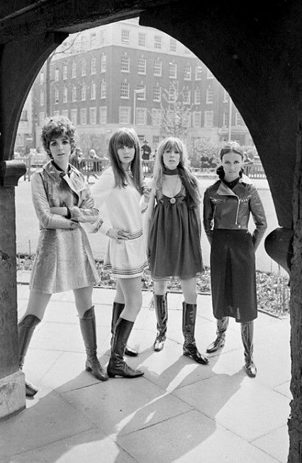 Linda Keith, Chrissie Shrimpton, Suki Poitier and Annie Sabroux displaying the Ossie Clark and Alice Pollock winter collection April 1967.