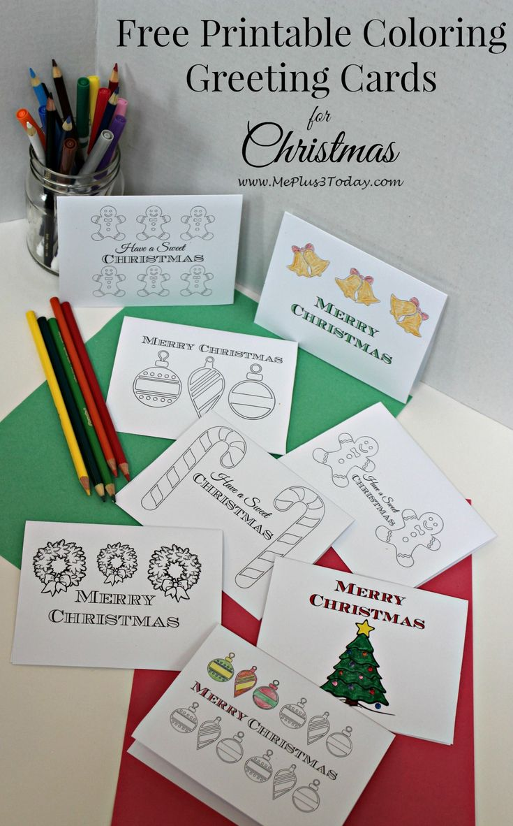 Free printable Christmas coloring pages - These printable Christmas greeting cards are the perfect way for your kids to spread cheer this holiday season!