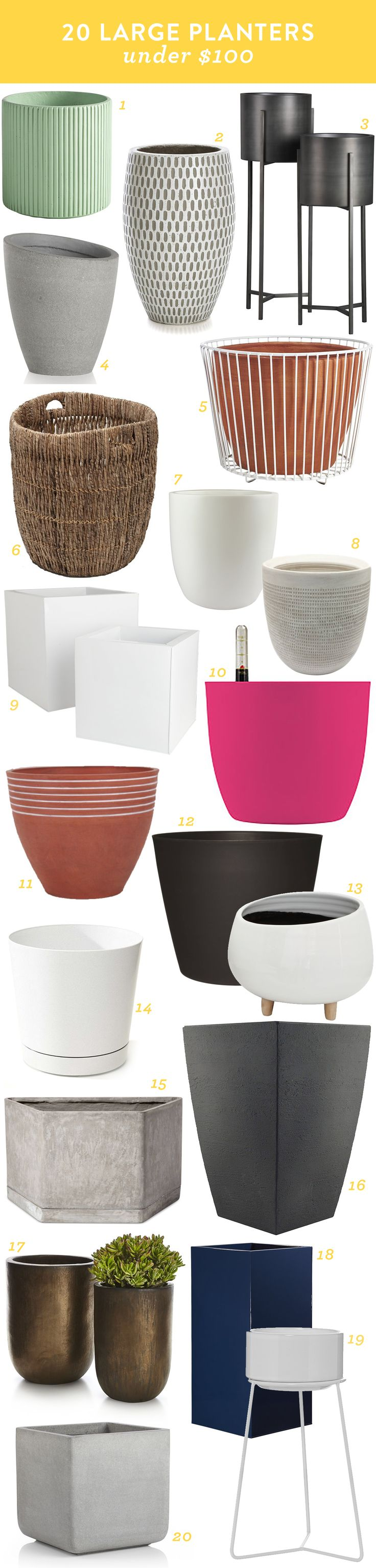 Add plants to your indoor and outdoor spaces! Check out this roundup of 20 great large planters all less than $100!
