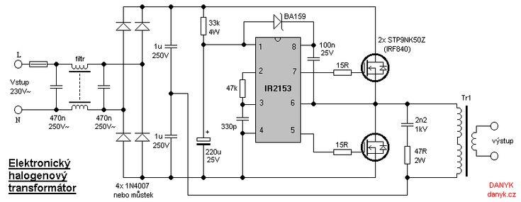 Schemat ideowy elektronicznego transformatora halogenowego