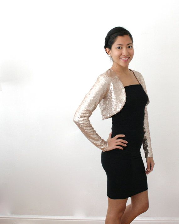 Long Sleeve Bridal Bolero Champagne Gold Bolero Gold by Kulayan