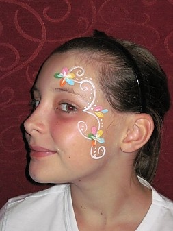 Multi colored flowers face painting