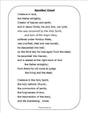 Apostles' Creed Printable